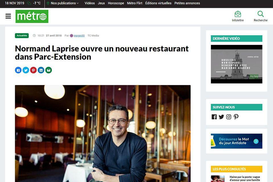 Normand Laprise ouvre un nouveau restaurant dans Parc-Extension