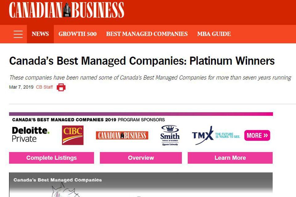 Canada's Best Managed Companies: Platinum Winners