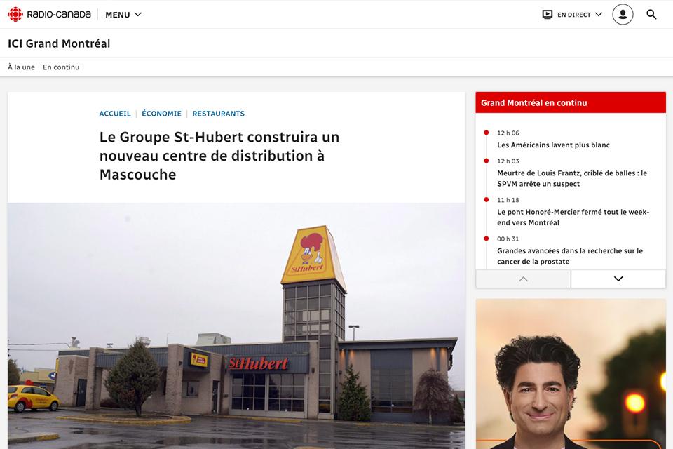 Le Groupe St-Hubert construira un nouveau centre de distribution à Mascouche