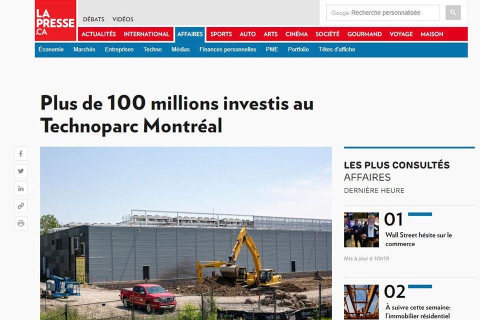 Plus de 100 millions investis au Technoparc Montréal